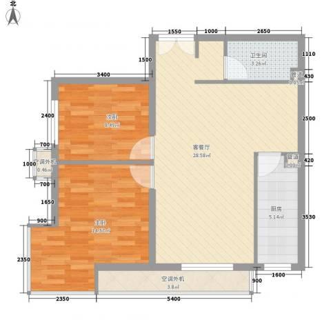 明天第一城6号院2室1厅1卫1厨91.00㎡户型图