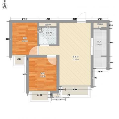 芳桂园2室1厅1卫1厨56.00㎡户型图