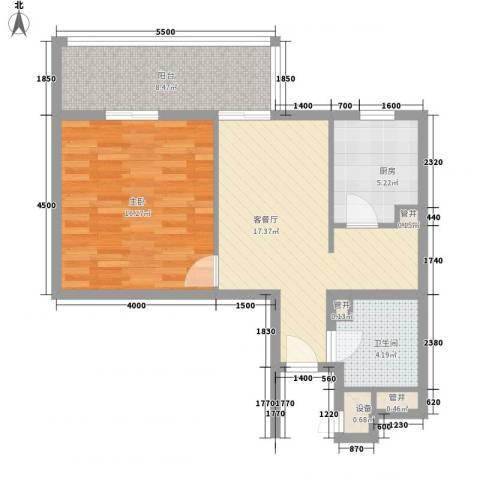 芳桂园1室1厅1卫1厨52.94㎡户型图