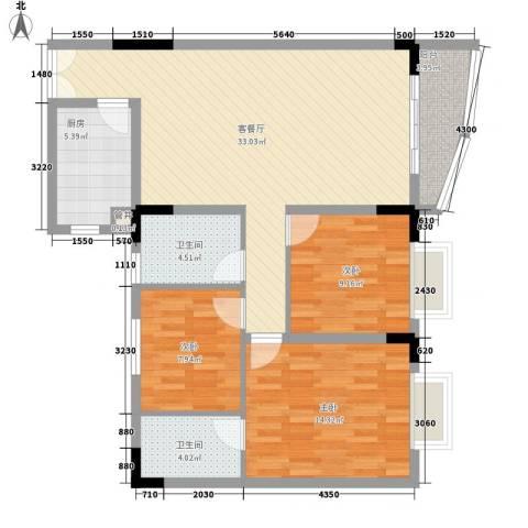 芳桂园3室1厅2卫1厨117.00㎡户型图
