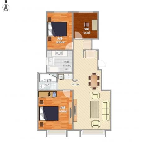万科蓝山3室1厅1卫1厨101.00㎡户型图