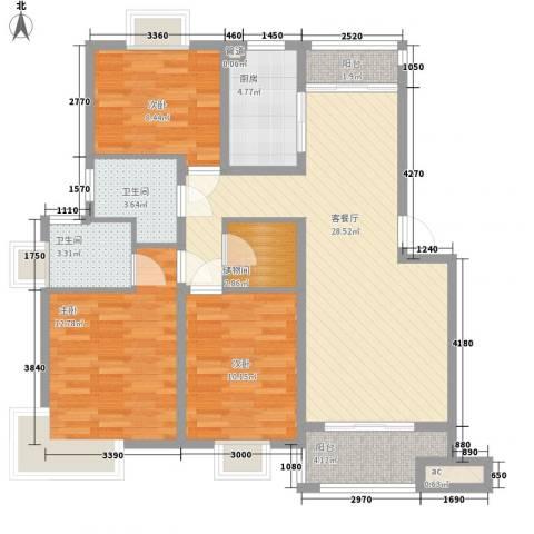 沃得雅苑3室1厅2卫1厨118.00㎡户型图