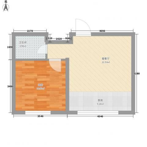 芳汀花园1室1厅1卫0厨50.00㎡户型图