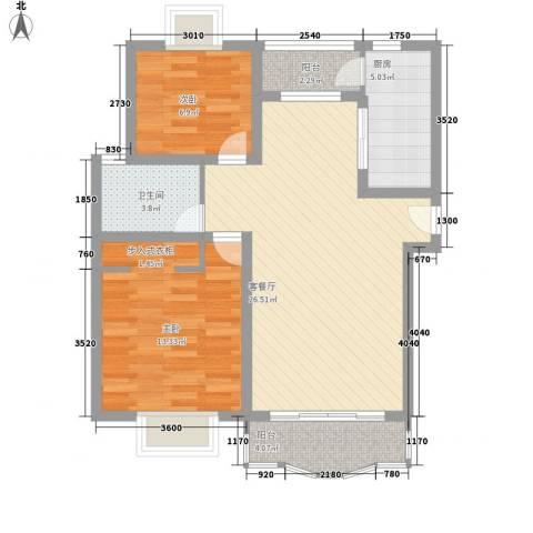 东方滨港园2室1厅1卫1厨90.00㎡户型图