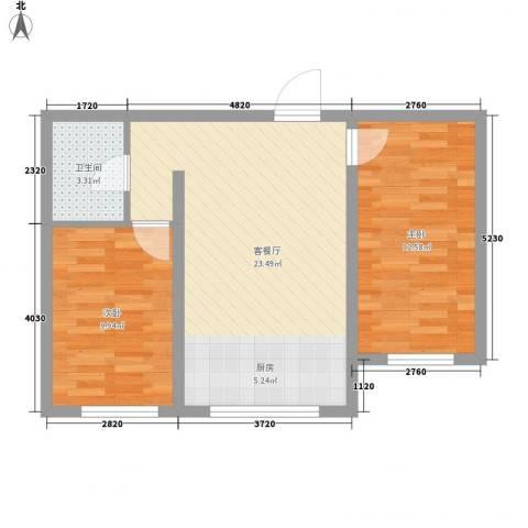芳汀花园2室1厅1卫0厨70.00㎡户型图