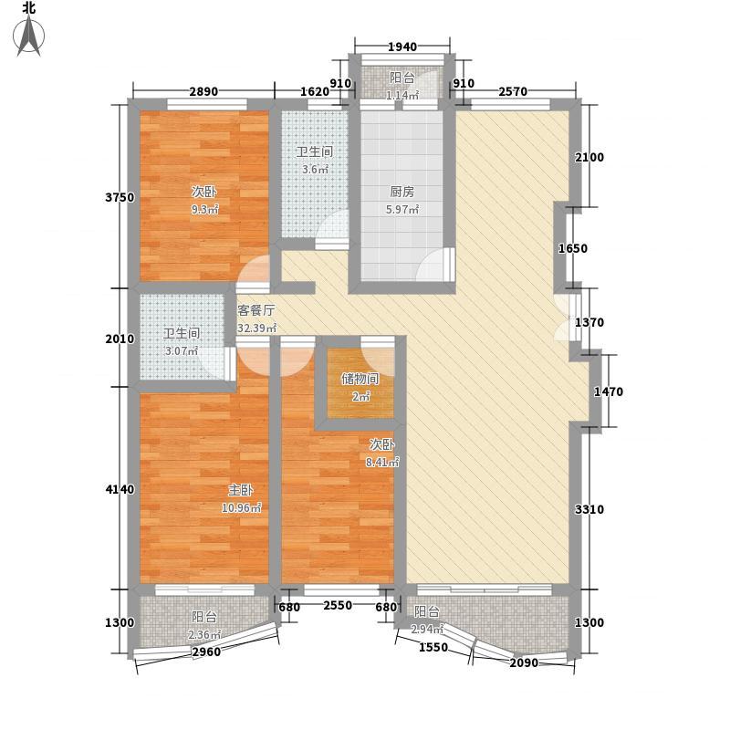广兰名苑123.49㎡上海户型2室2厅2卫1厨