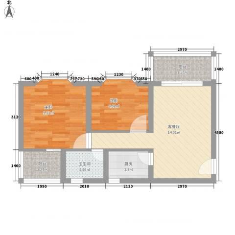 玫瑰花园2室1厅1卫1厨67.00㎡户型图