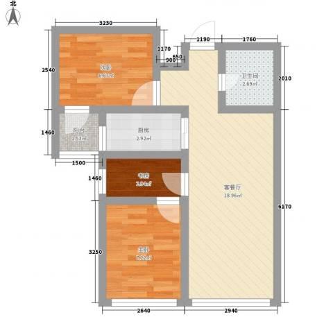 善上居3室1厅1卫1厨43.14㎡户型图