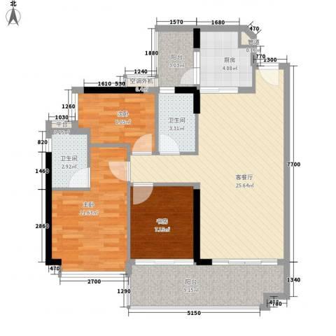可逸家园3室1厅2卫1厨105.00㎡户型图