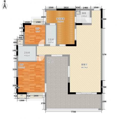 时代名轩2室1厅2卫1厨133.00㎡户型图
