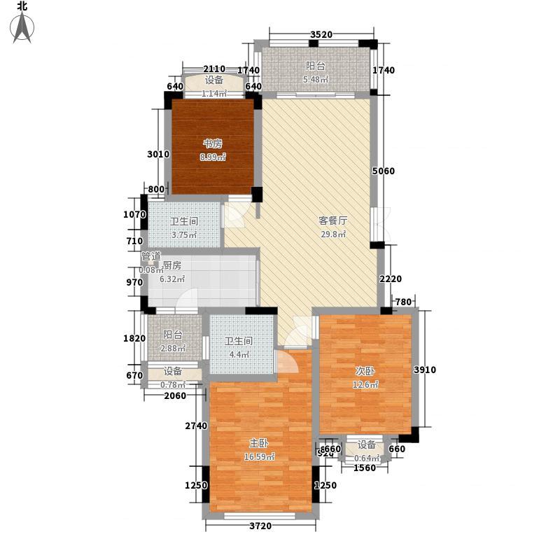 彰泰兰乔圣菲1.24㎡三期15A户型3室2厅2卫1厨