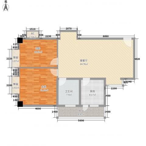 玫瑰花园2室1厅1卫1厨141.00㎡户型图