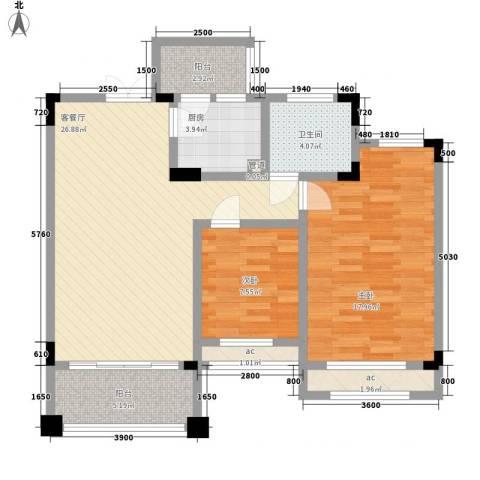 锦绣新天地2室1厅1卫1厨86.00㎡户型图
