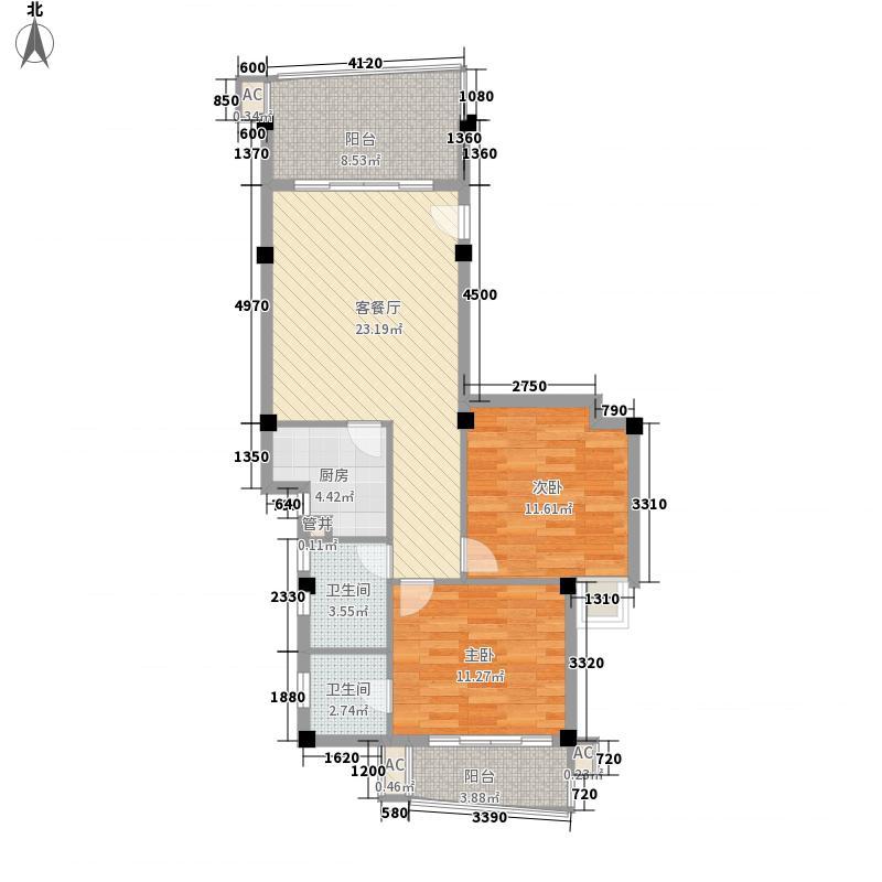 香樟林城市花园II期100.00㎡香樟林城市花园II期户型图B#C户2室2厅2卫1厨户型2室2厅2卫1厨