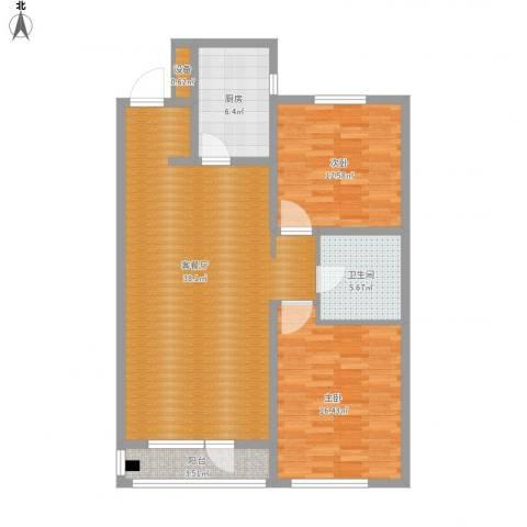 万科蓝山2室1厅1卫1厨118.00㎡户型图