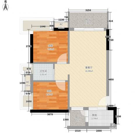 布宜诺斯2室1厅1卫1厨68.00㎡户型图