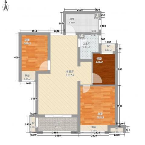 绿地滨湖国际花都3室1厅1卫1厨89.00㎡户型图