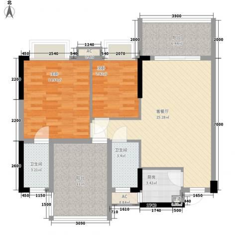 时代名轩2室1厅2卫1厨92.00㎡户型图