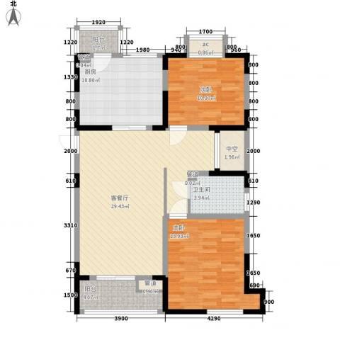 第六大道大洋嘉园2室1厅1卫1厨111.00㎡户型图