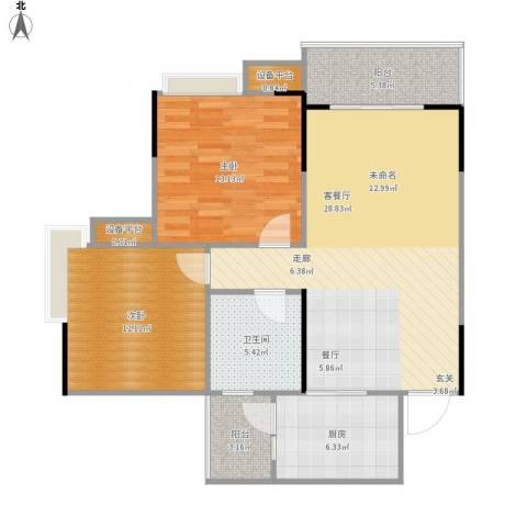 龙湾上城2室1厅1卫1厨103.00㎡户型图