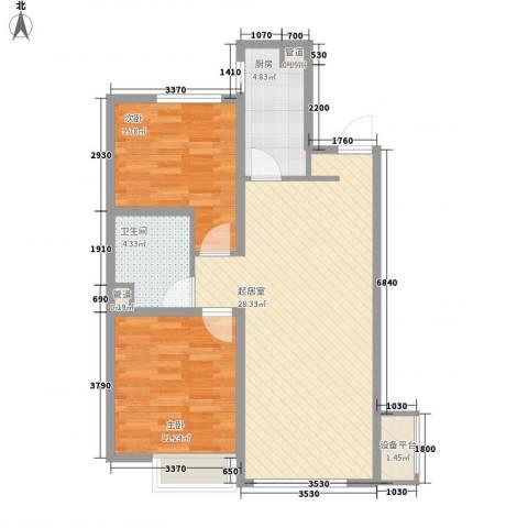 万科城2室0厅1卫1厨86.00㎡户型图