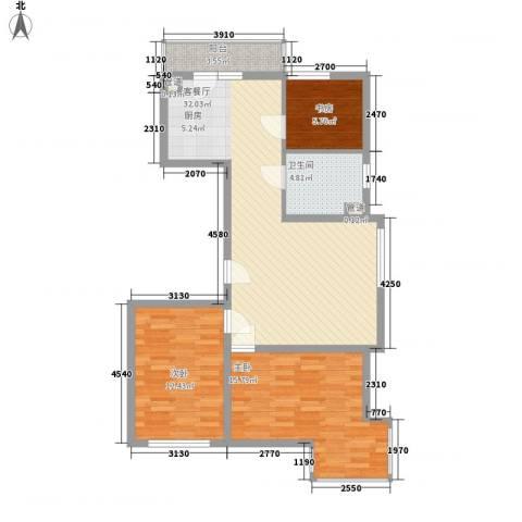 溪湖芳庭3室1厅1卫0厨98.00㎡户型图