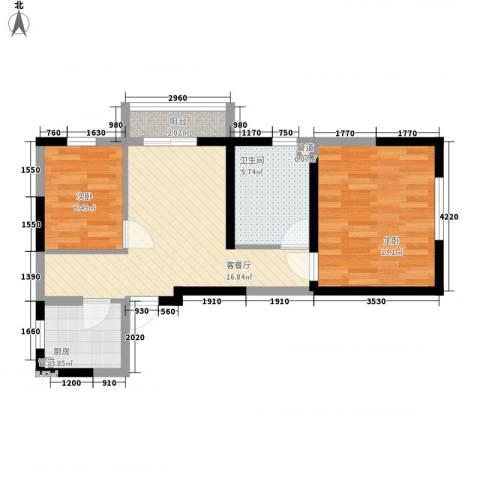 溪湖芳庭2室1厅1卫1厨62.00㎡户型图