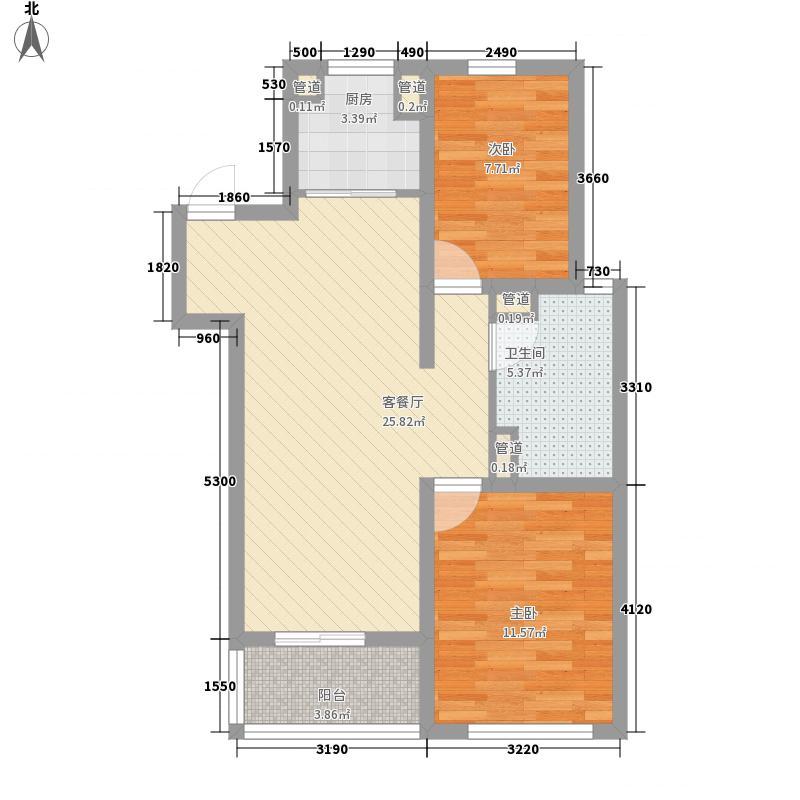 康大风和丽景85.60㎡1#、2#标准层A户型2室2厅1卫1厨