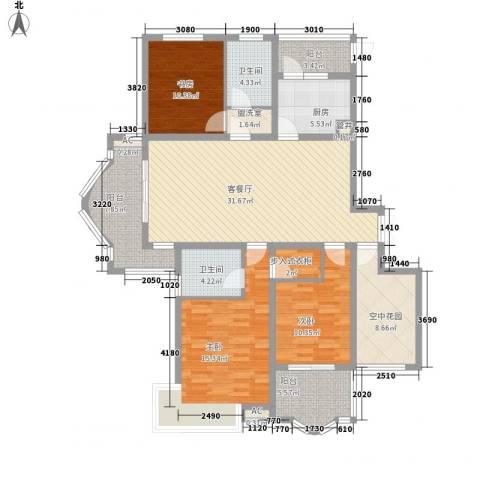高速滨湖时代广场3室1厅2卫1厨162.00㎡户型图