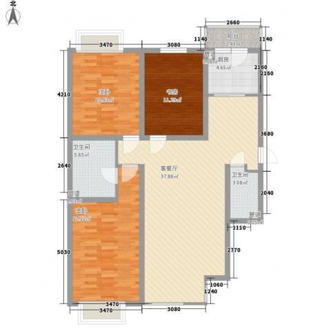 长乐湾3室1厅2卫1厨136.00㎡户型图