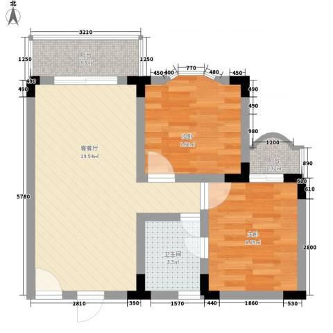 玫瑰花园2室1厅1卫0厨63.00㎡户型图