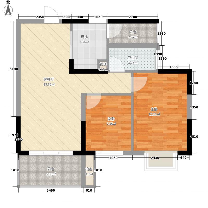 上海滩公馆7.50㎡2号楼04(4-31层)户型2室2厅1卫1厨
