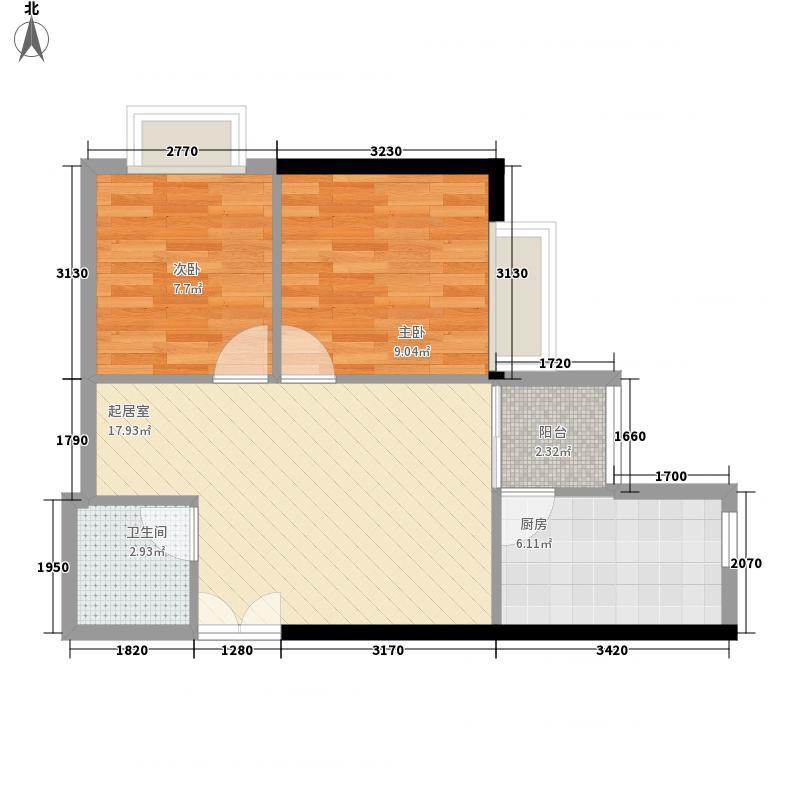 盛世凯旋宫70.29㎡A6户型2室2厅1卫1厨