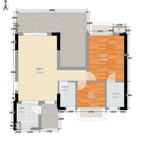 时代名轩2室1厅2卫1厨89.00㎡户型图