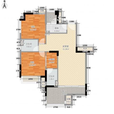 时富城东世家2室0厅2卫1厨82.53㎡户型图