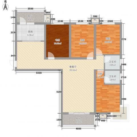 江南鸿郡4室1厅2卫1厨121.00㎡户型图