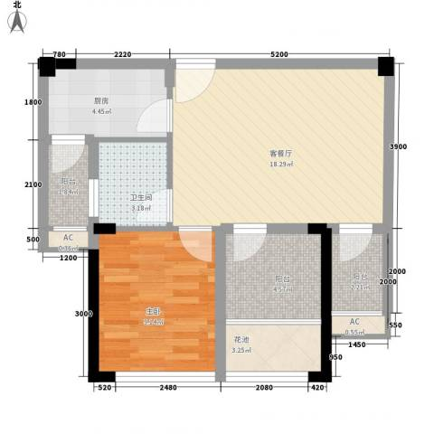 博学尚品1室1厅1卫1厨63.00㎡户型图