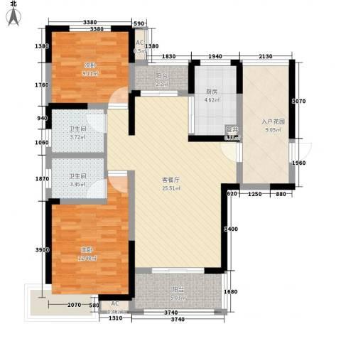 高速滨湖时代广场2室1厅2卫1厨113.00㎡户型图