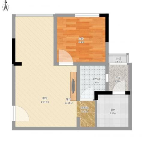 欣光松宿1室1厅1卫1厨59.00㎡户型图