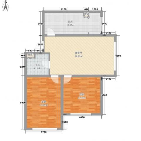 柏悦星城2室1厅1卫1厨74.12㎡户型图