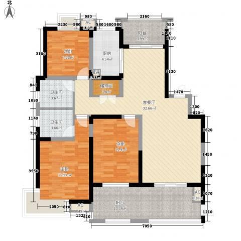 高速滨湖时代广场3室1厅2卫1厨142.00㎡户型图