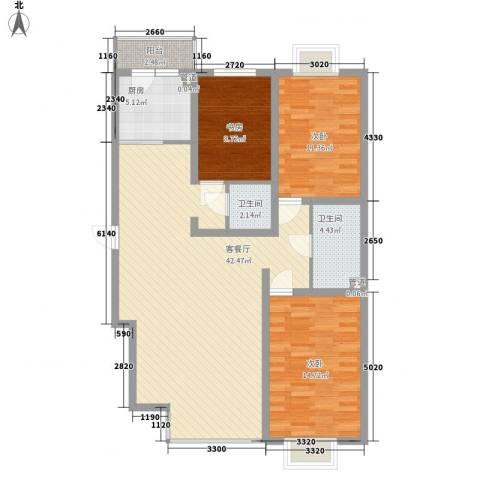 长乐湾3室1厅2卫1厨131.00㎡户型图