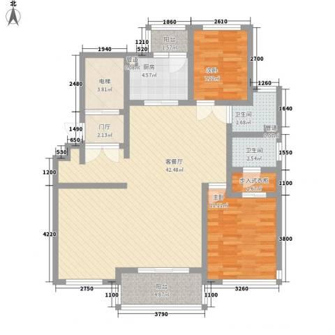 绿地海珀璞晖2室1厅2卫1厨125.00㎡户型图