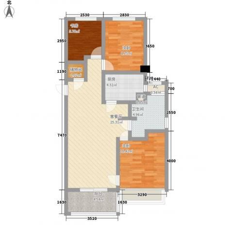 绿地海珀璞晖3室1厅1卫1厨98.00㎡户型图