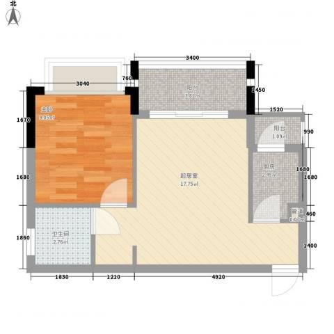 雍景豪园1室0厅1卫1厨54.00㎡户型图