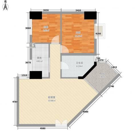御峰国际2室0厅1卫1厨100.00㎡户型图
