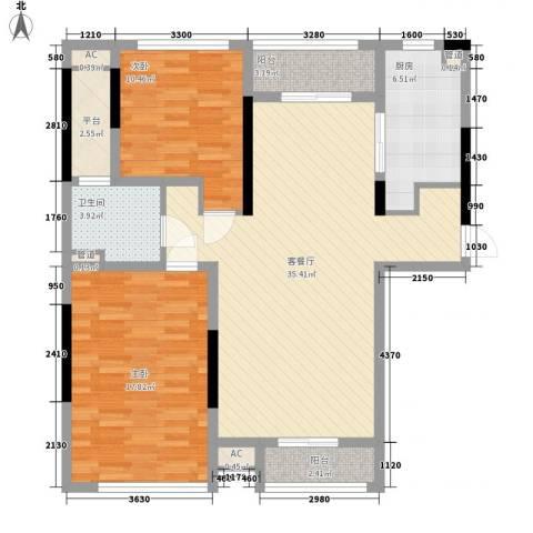 佘山假日半岛公寓2室1厅1卫1厨120.00㎡户型图