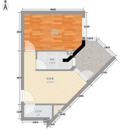 御峰国际1室0厅1卫1厨49.00㎡户型图