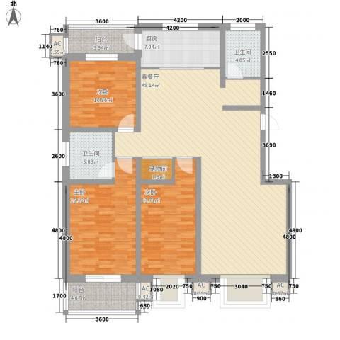 江南鸿郡3室1厅2卫1厨143.00㎡户型图
