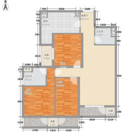 雅荷春天3室1厅2卫1厨103.61㎡户型图
